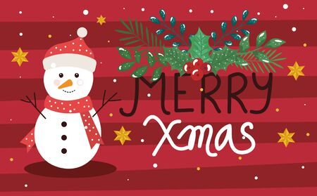 merry christmas poster with snowman and decoration vector illustration design