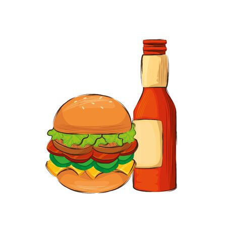 delicious hamburger with beer isolated icon vector illustration design