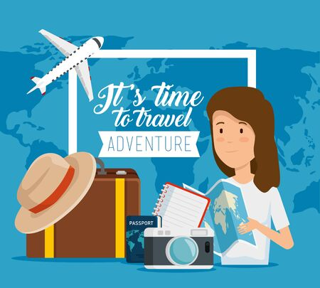 woman with global global and travel baggage vector illustration Ilustração