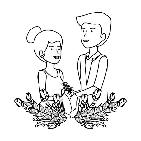 recently married couple with floral decoration vector illustration design 일러스트