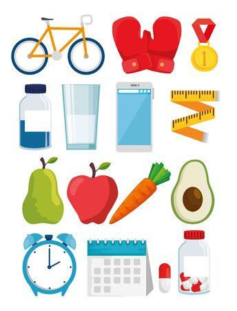 bundle of healthy lifestyle with icons vector illustration design Stock Vector - 134752921