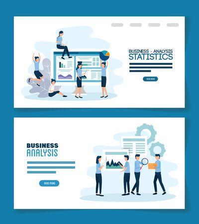 teamwork set scenes of analysis infographic vector illustration design
