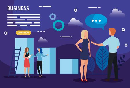 business people with infographic and icons vector illustration design