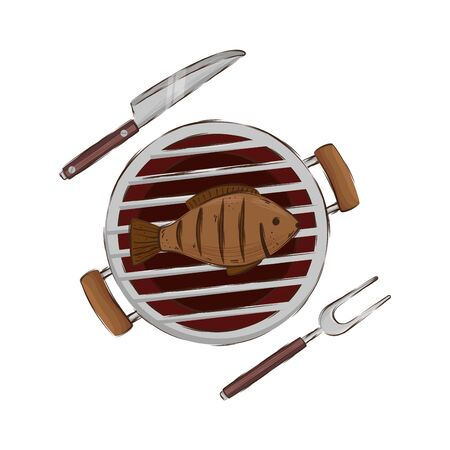 oven barbecue with fish isolated icon vector illustration design