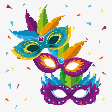 carnival masks with feathers decoration to festival celebration vector illustration