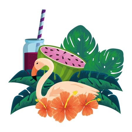 watermelon juice with pot and flemish bird vector illustration design