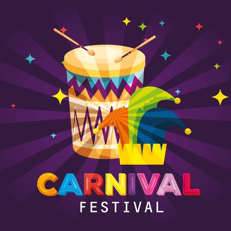 carnival drum with joker traditional hat decoration vector illustration