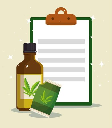 cannabis nature oil in the bottle and bag with check list vector illustration