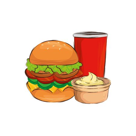delicious hamburger with drink isolated icon vector illustration design