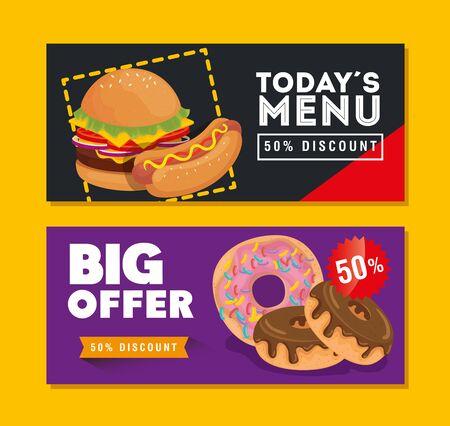 set of poster offer delicious fast food vector illustration design Ilustracja