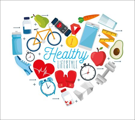 poster healthy lifestyle with set icons vector illustration design Stock Vector - 134754878
