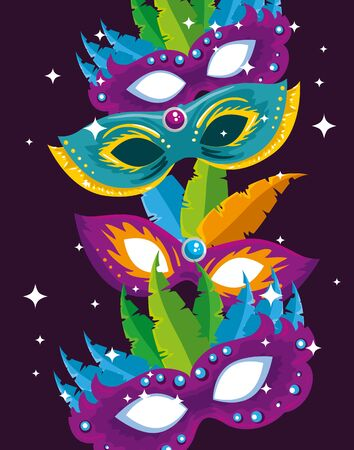 carnival masks with feathers decoration to traditional festival vector illustration 일러스트
