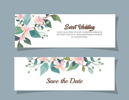 set wedding invitation cards with flowers decoration vector illustration design