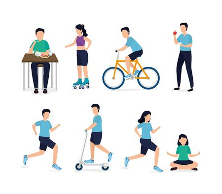 set of people and healthy lifestyle icons vector illustration design Illustration