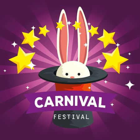 rabbit wild animal inside hat with stars to carnival celebration vector illustration