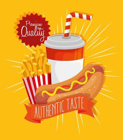 poster premium quality authentic taste fast food vector illustration design Ilustracja