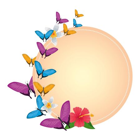 group of beautiful butterflies flying with flower vector illustration design Stock Illustratie