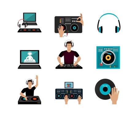 bundle dj music set icons vector illustration design
