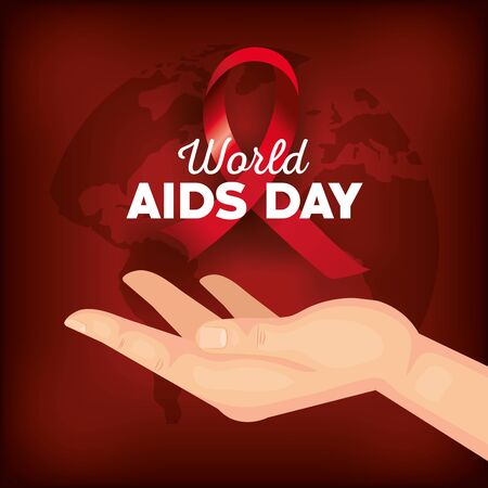 poster world aids day with hand and ribbon vector illustration design Ilustração