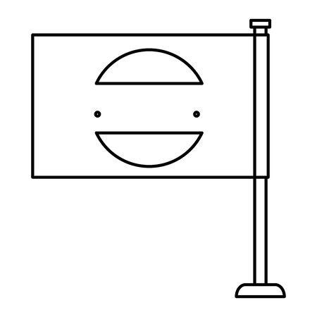 flag with commercial emblem print vector illustration design Ilustração