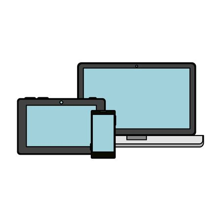 laptop with smartphone and tablet vector illustration design