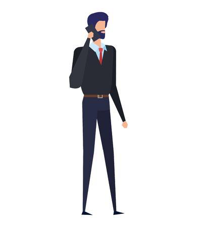 elegant young businessman using smartphone vector illustration design Illustration