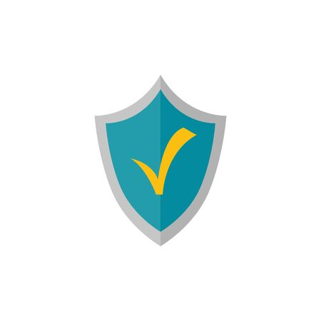 shield with check symbol isolated icon vector illustration design Çizim