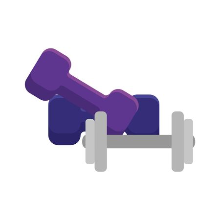 set of dumbbell equipment gym isolated icon vector illustration design Çizim