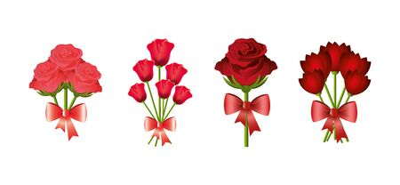 set of bouquets flowers with bow ribbon vector illustration design 向量圖像