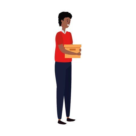 afro businessman worker lifting carton box vector illustration design Illustration