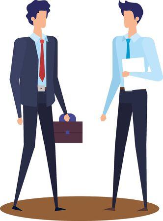 elegant young businessmen avatars characters vector illustration design Illustration