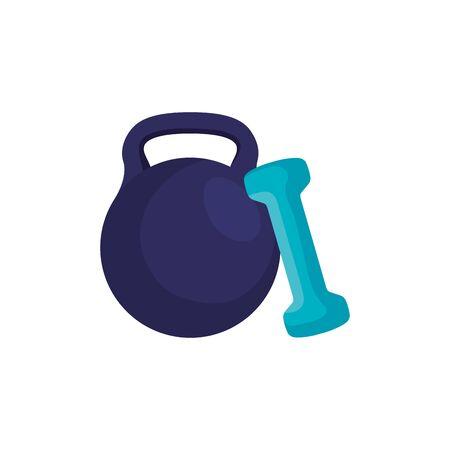 set of dumbbell equipment gym isolated icon vector illustration design Ilustracja