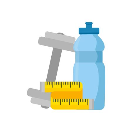 dumbbell with bottle water and tape measure vector illustration design