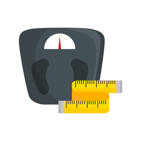 scale measure weight with measuring tape vector illustration design