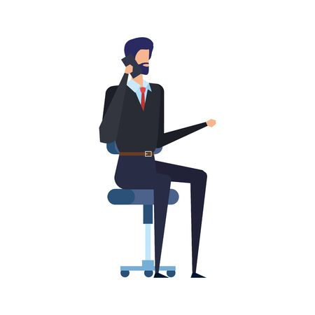 businessman calling with smartphone seated in office chair vector illustration Illustration