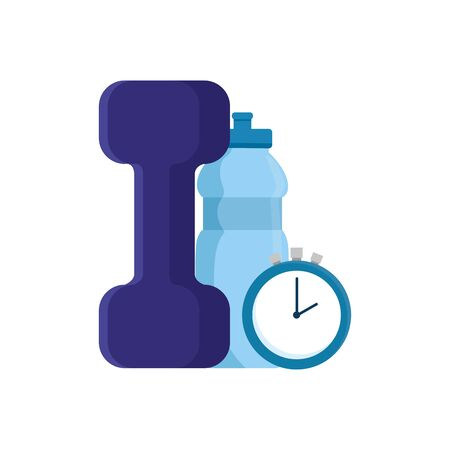 dumbbell with bottle water and chronometer time vector illustration design Illusztráció