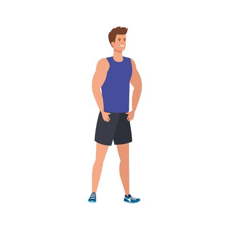 young man athlete avatar character vector illustration design