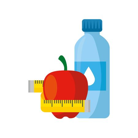 fresh apple fruit with bottle water and tape measure vector illustration design