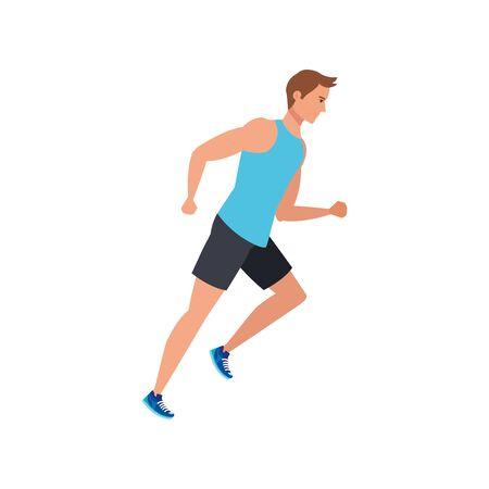 young man athlete running avatar character vector illustration design