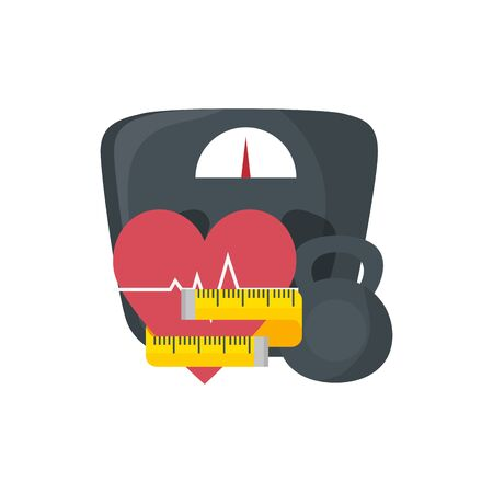 scale measure weight with set icons vector illustration design Illustration