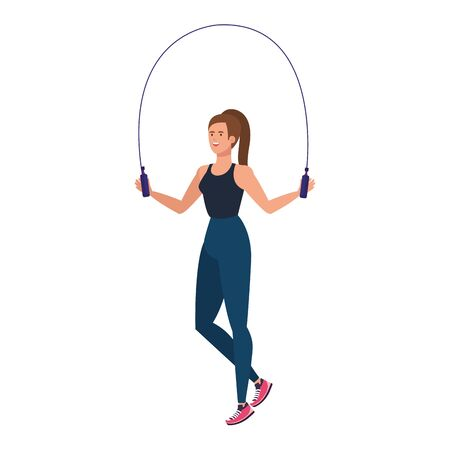 young woman athlete with rope jump vector illustration design