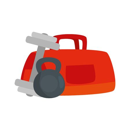 set of dumbbell with handbag gym isolated icon vector illustration design