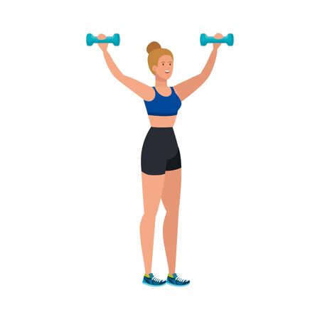 young woman athlete with dumbbell avatar character vector illustration design
