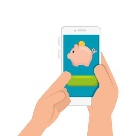 hand and smartphone with piggy bank vector illustration design