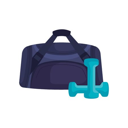 handbag gym with dumbbell isolated icon vector illustration design