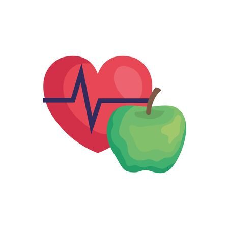 heart rate pulse with apple isolated icon vector illustration design Illustration