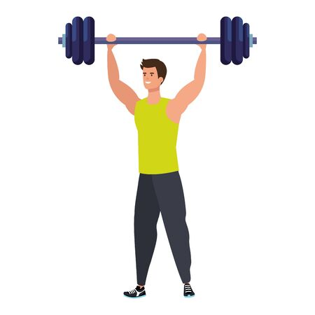young man athlete with dumbbell avatar character vector illustration design
