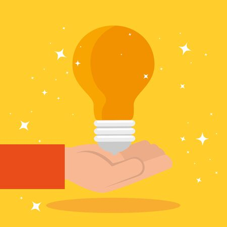 hand with light bulb idea isolated icon vector illustration design