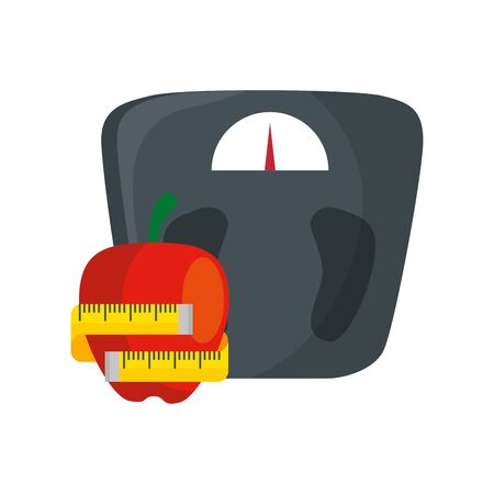 scale measure weight with apple and measuring tape vector illustration design Illustration