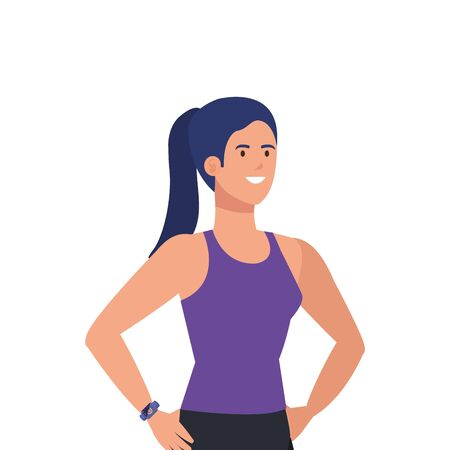 young woman athlete avatar character vector illustration design Illustration